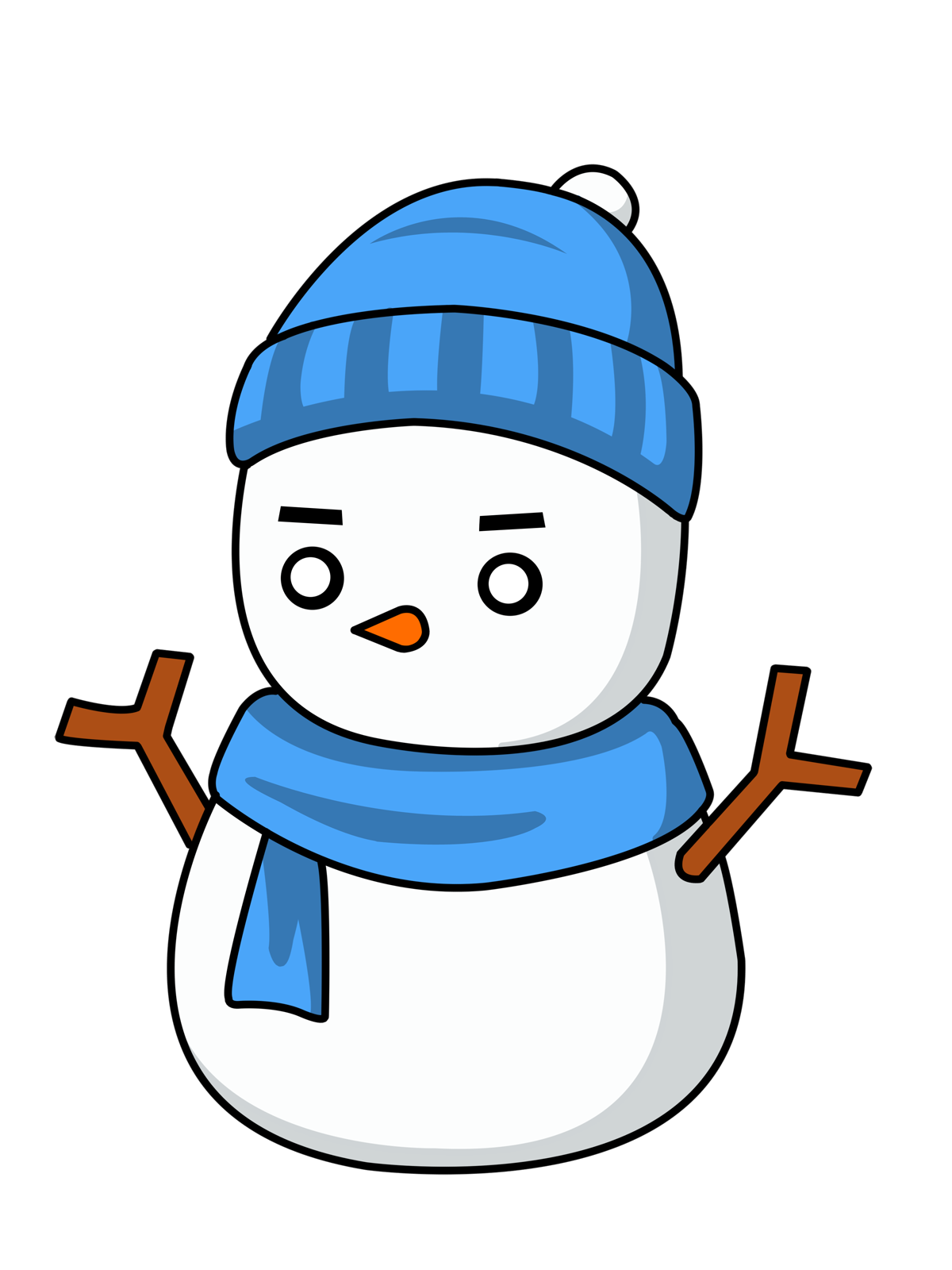 Free Snowman With Eskimo Style Hat Clip Art