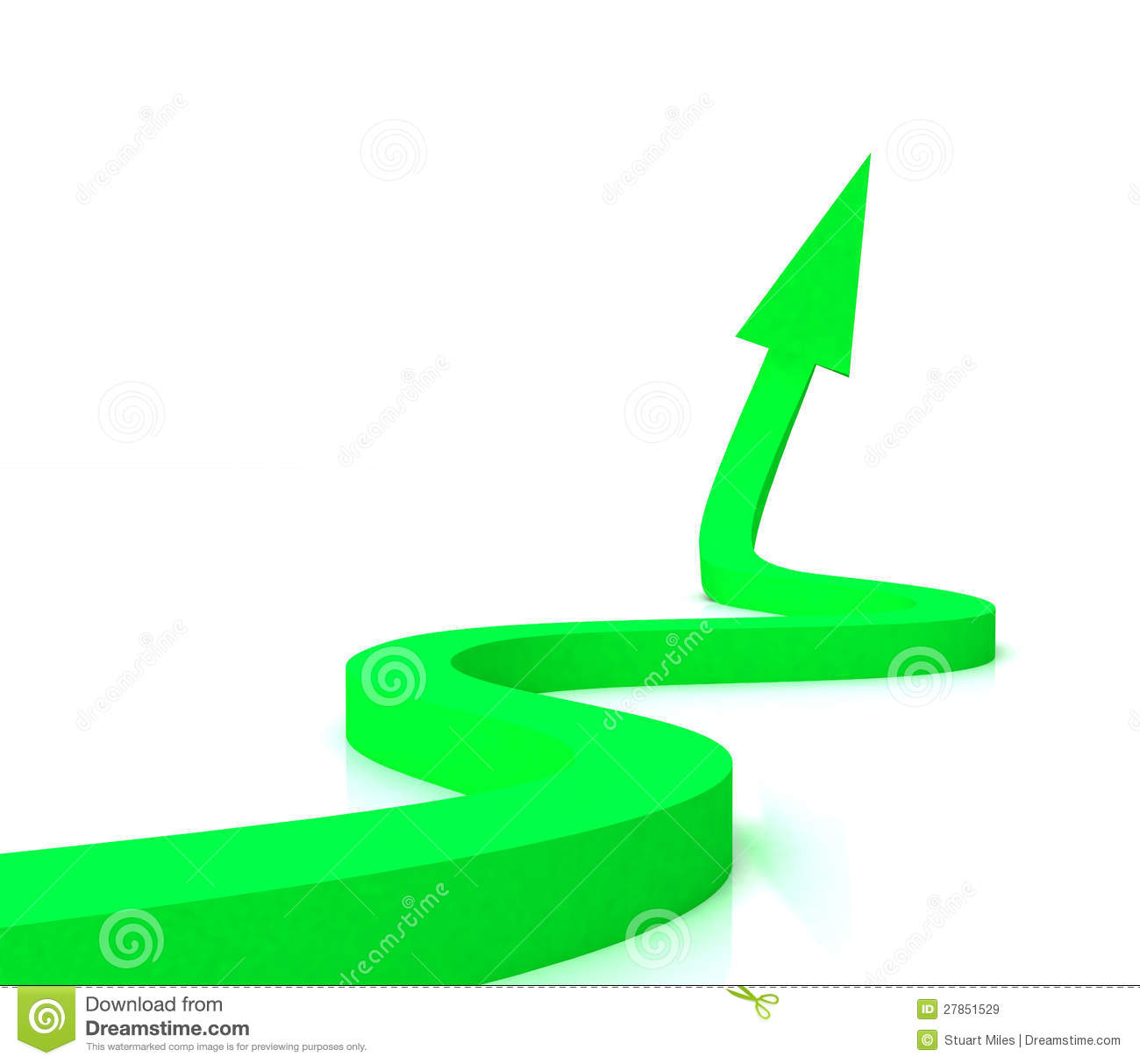 Green Wavy Arrow Shows Success Royalty Free Stock Images   Image