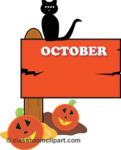 Halloween   October Sign 23   Classroom Clipart