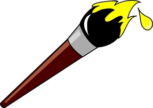 Paintbrush Clipart Image   Cartoon Paintbrush Loaded With Yellow Paint