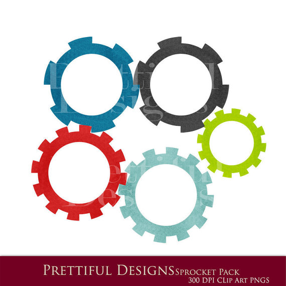 Robot Clip Art   Sprockets And Gears   Personal And Commercial Use