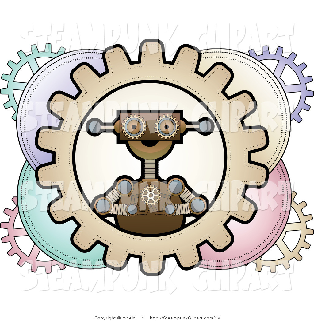 Robots Clipart Vector Clip Art Of A Steampunk Robot In Circle Picture