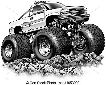 Stock Illustration   Cartoon 4x4 Truck   Stock Illustration Royalty