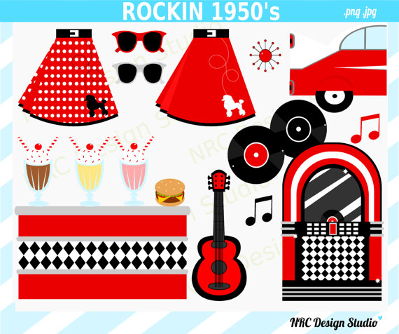 1950 S Sock Hop Clipart   Poodle Skirt Jukebox Car Milkshake Bar