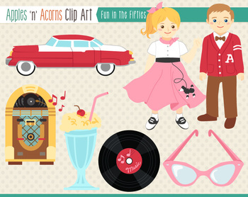 1950s Fun In The Fifties Clip Art   Color And Outlines