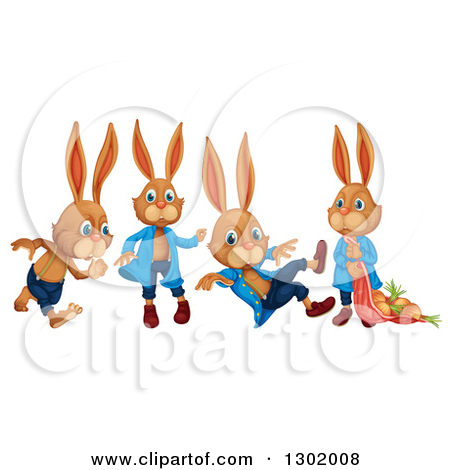 Clipart Of Brown Boy Bunny Rabbits   Royalty Free Vector Illustration