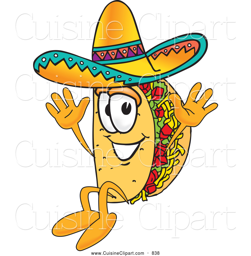 Cuisine Clipart Of A Cute Taco Mascot Cartoon Character Jumping By