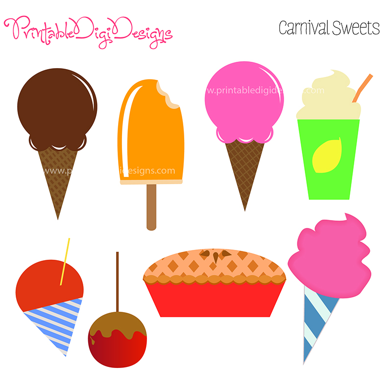 Fair Fun Food Sweets Clipart Graphic Set   3 50 Carnival Fair Fun Food