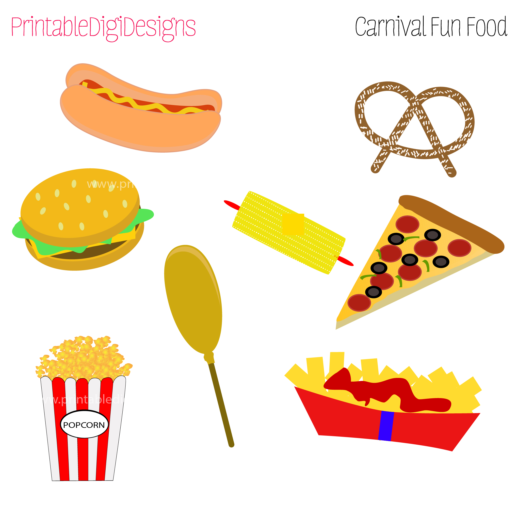 Fun Foods Clipart Graphic Set   3 50 Carnival Fair Fun Foods Clipart