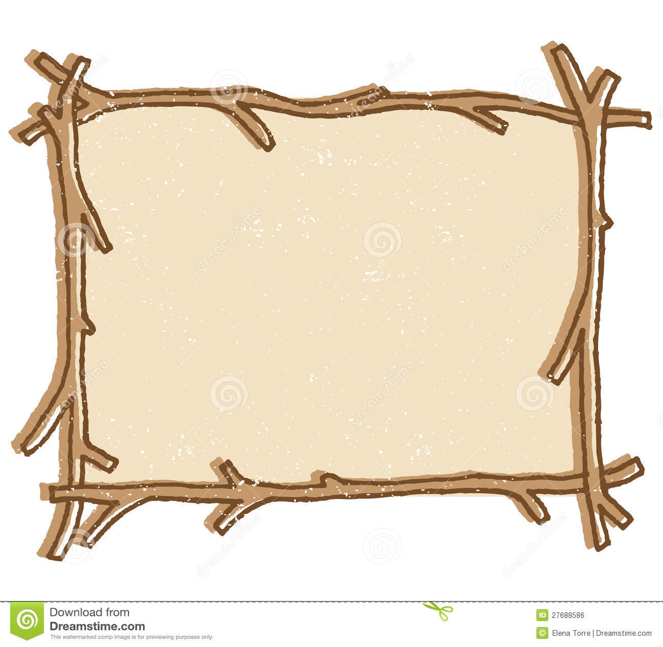 Illustration Of A Twig Stick Frame Isolated On A White Background