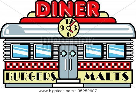 Image Of Diner Cafe Clip Art Retro 1950s Style