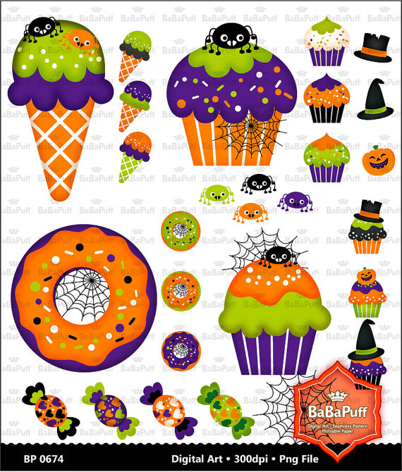 Instant Downloads Halloween Party Food Clip Art  Personal And Small