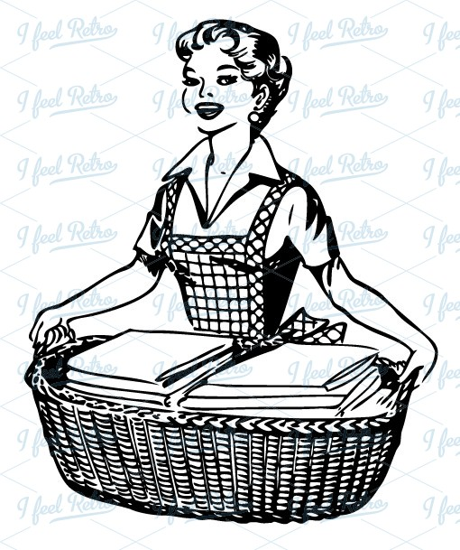 Retro Clipart  Happy Housewife   Authentic Vintage European Vector