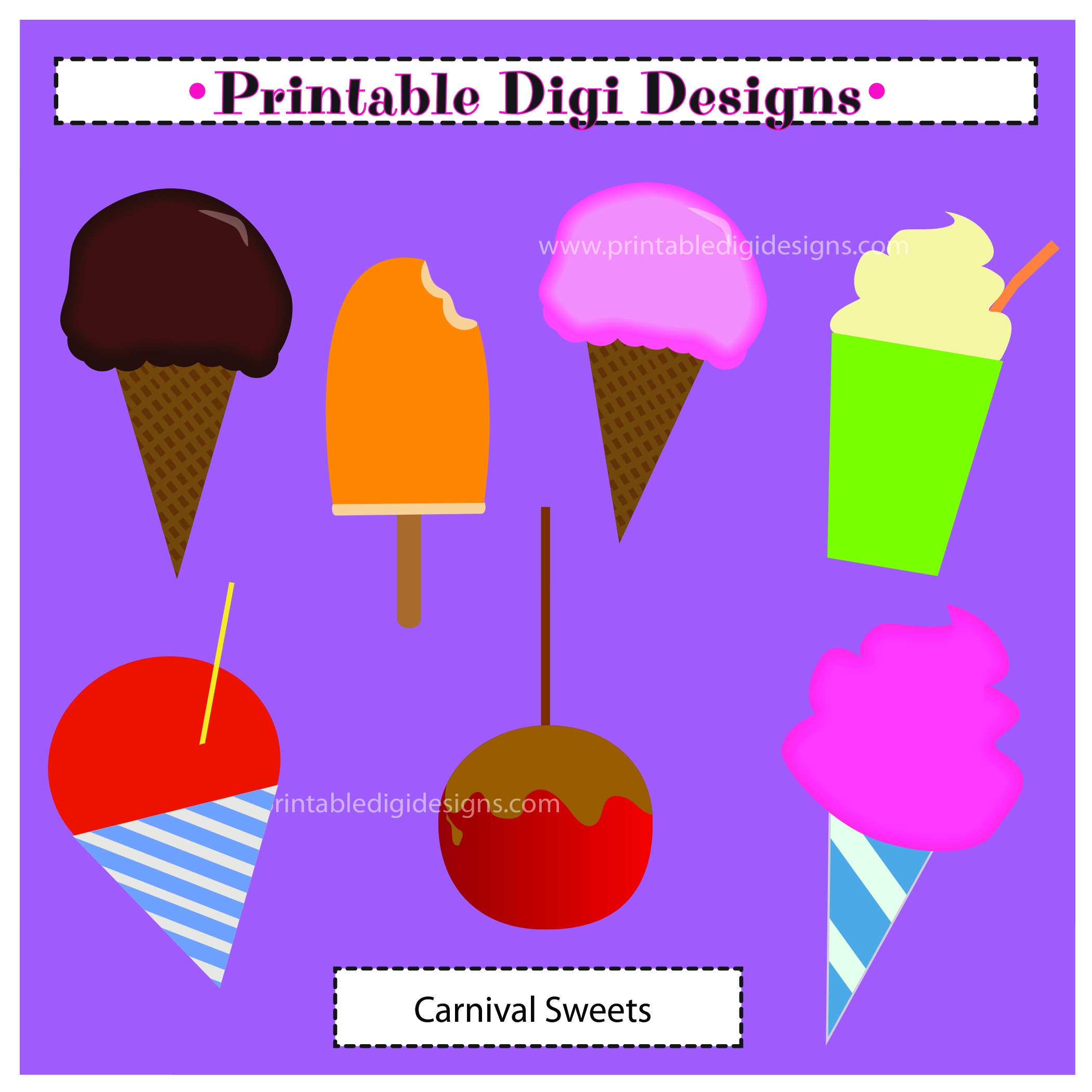 Rnival Fair Fun Food Sweets Clipart Graphic Set