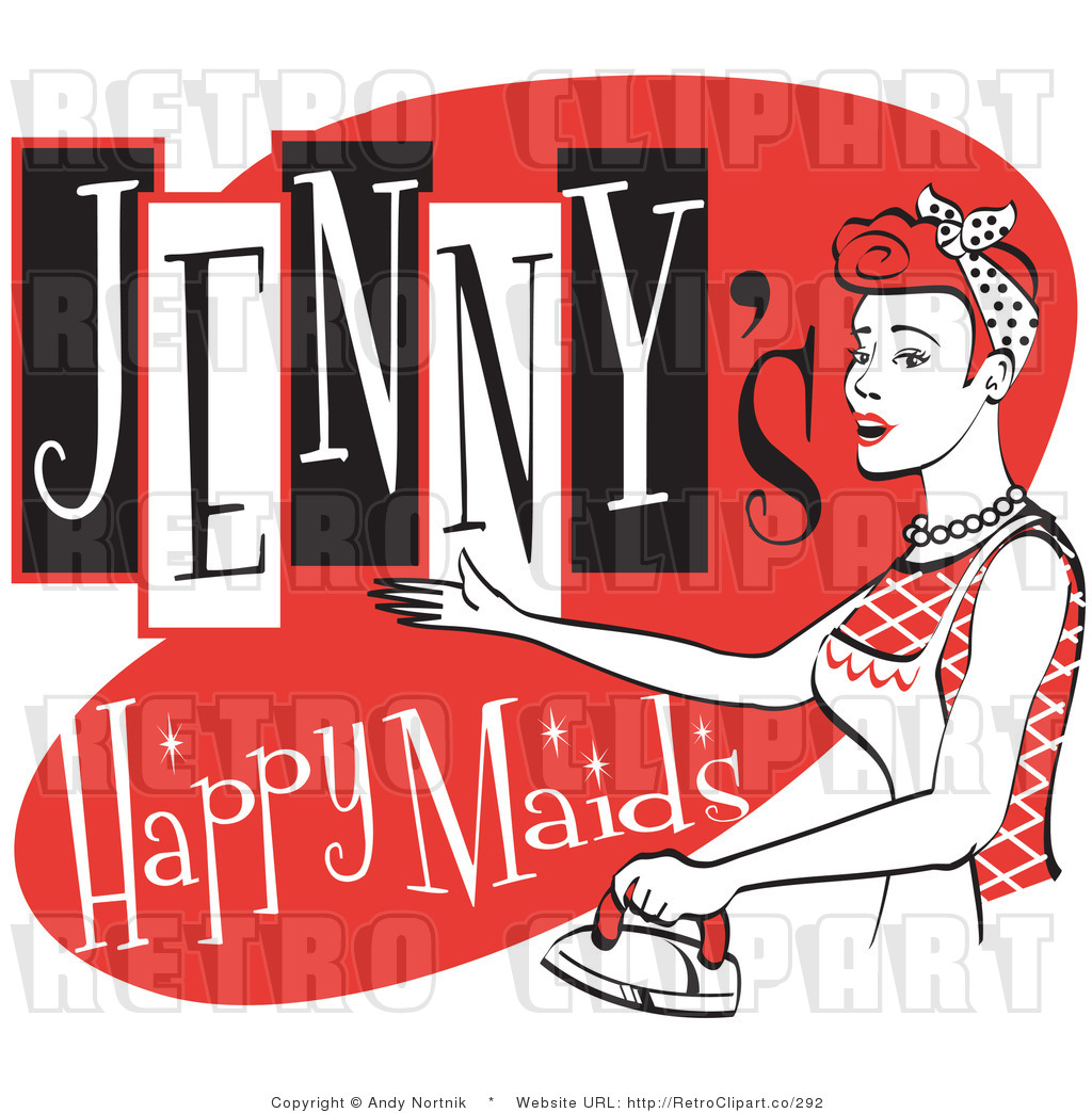 Royalty Free Vector Retro Clip Art Of A 1950 S Maid Ironing While