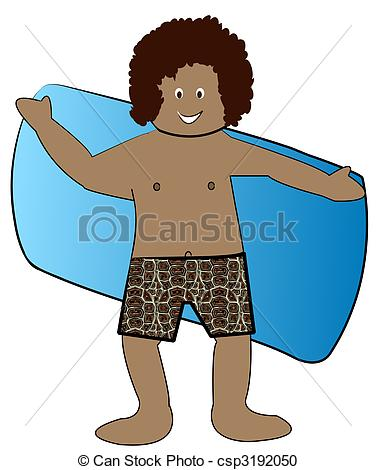 Stock Illustration   Ethnic Boy In Bathing Suit Drying Off With Towel