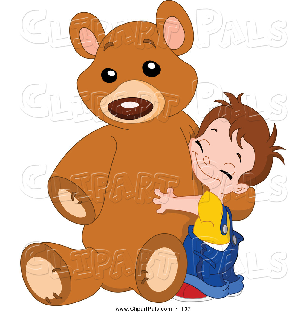 Sweet Boy Hugging His Giant Brown Teddy Bear Pair Of Girls And A Boy