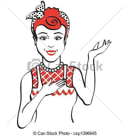 Vector   Vintage   Retro 1950s Wom   Stock Illustration Royalty Free