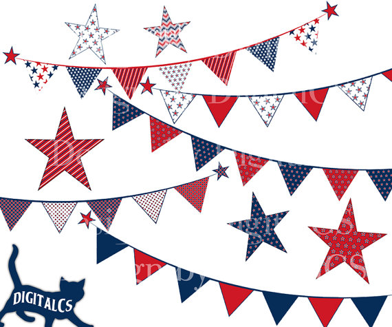 4th Of July Clipart Clip Art Independence Day Digital Png Bunting Clip