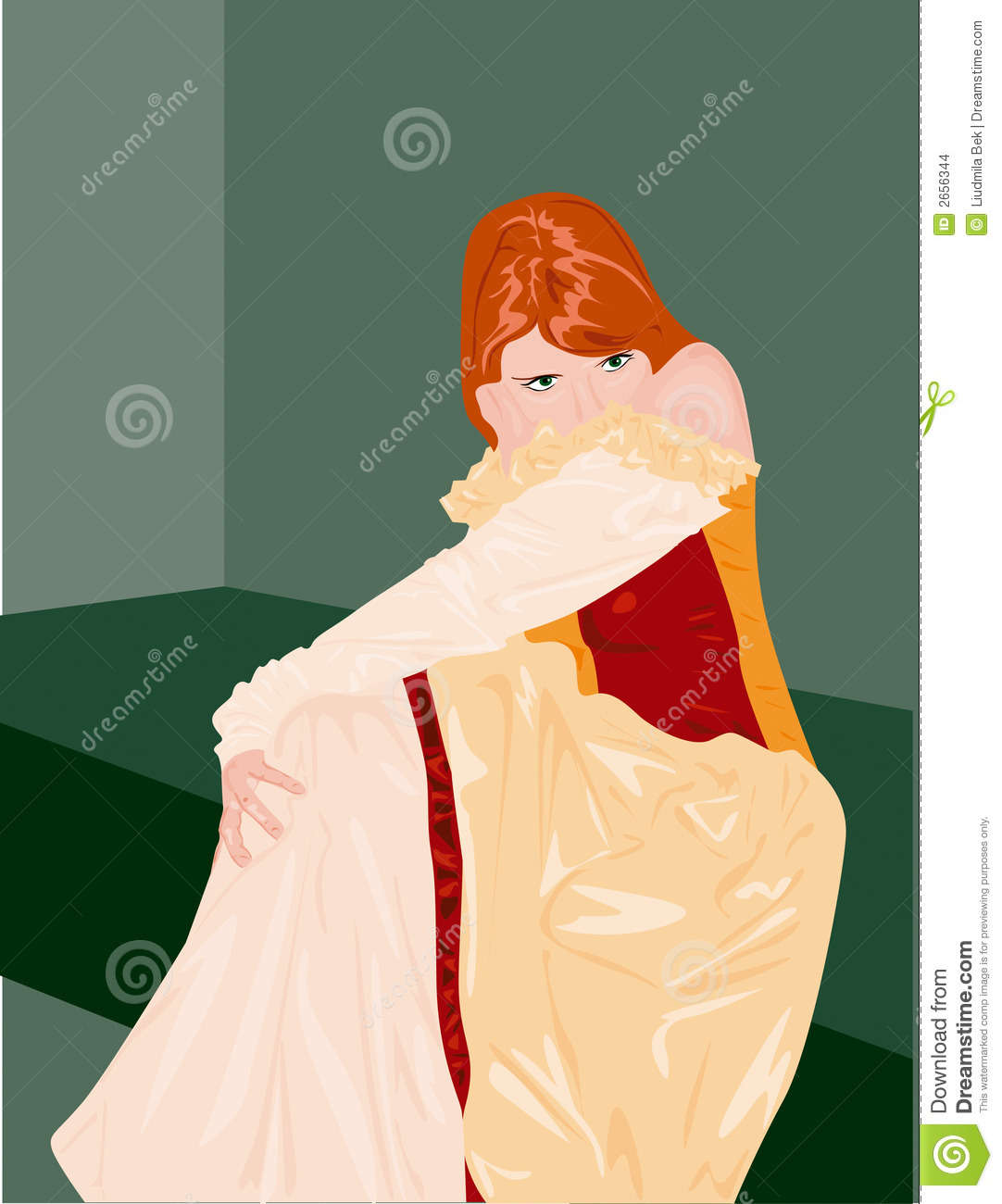 Cartoon Illustration Of Shy Princess With Red Hair Sat In Room