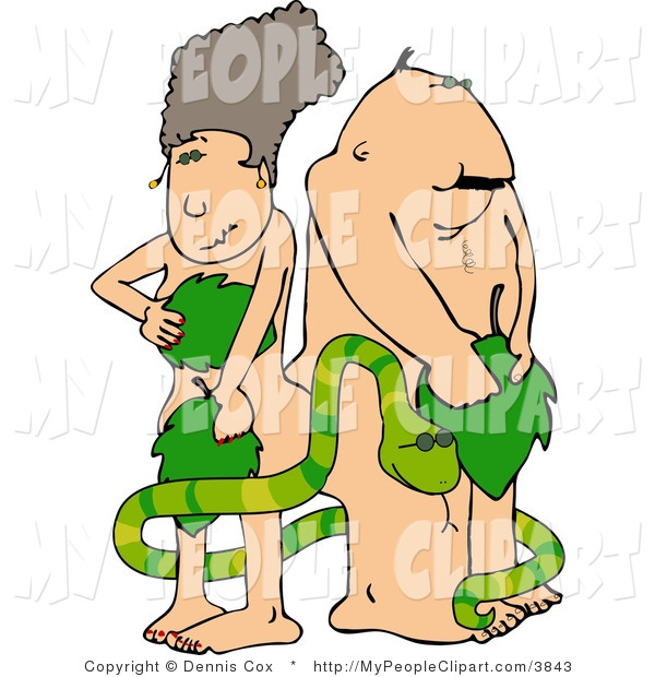 Clip Art Of A Shy Adam And Eve Hiding Behind Large Leaves By Djart