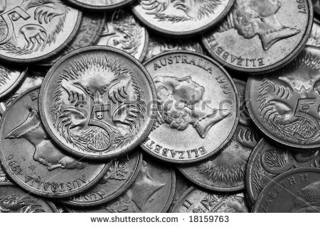 Closeup Of Australian 5 Cent Coins In Black And White    Stock Photo