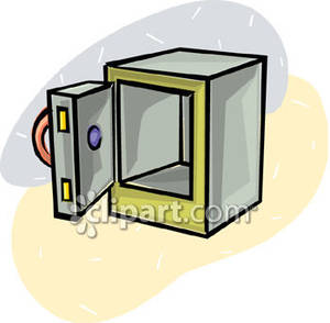 Open Empty Safe   Royalty Free Clipart Picture
