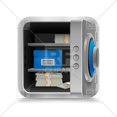 Open Safe With Cash On White Background Download Royalty Free Vector