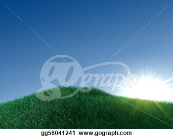 Plain Sky Green Land And An Over Exposure Sun  Clipart Gg56041241