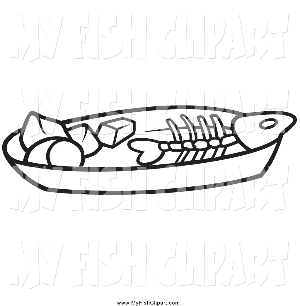 Preview Clip Art Of A Black And White Fish Bone On A Plate By Dero ...