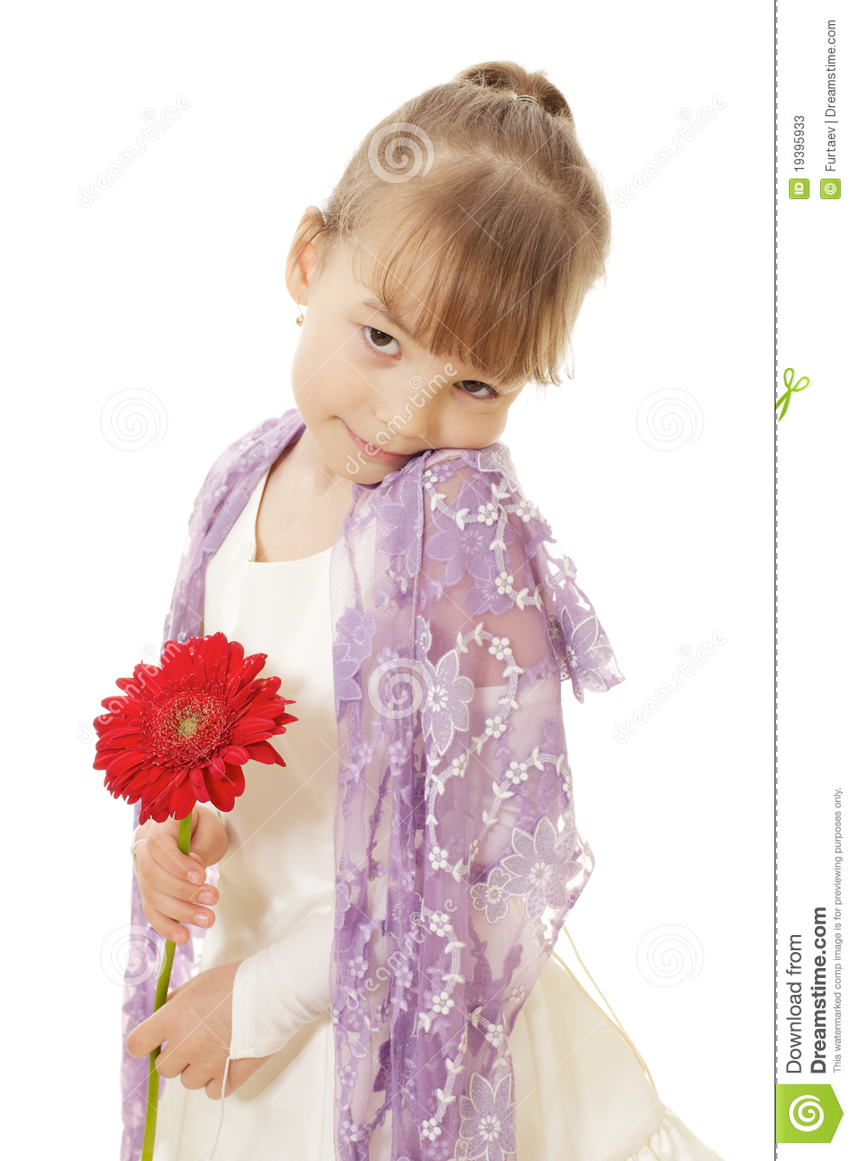 Shy Little Girl In Dress Holding Red Flower Stock Photos   Image