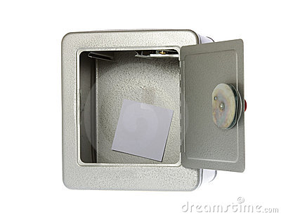 Unlocked Open Empty Safe With A Blank Note Royalty Free Stock Image