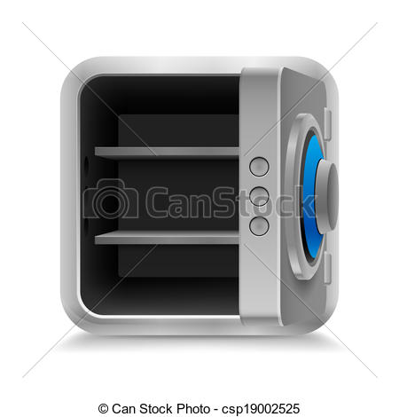 Vector Illustration Of Open Safe   Open Empty Safe With Code Lock On