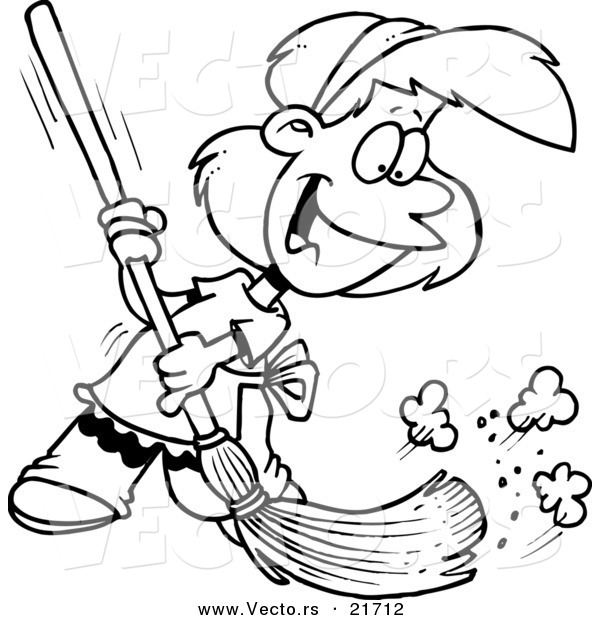 Vector Of A Cartoon Girl Sweeping   Outlined Coloring Page By Ron