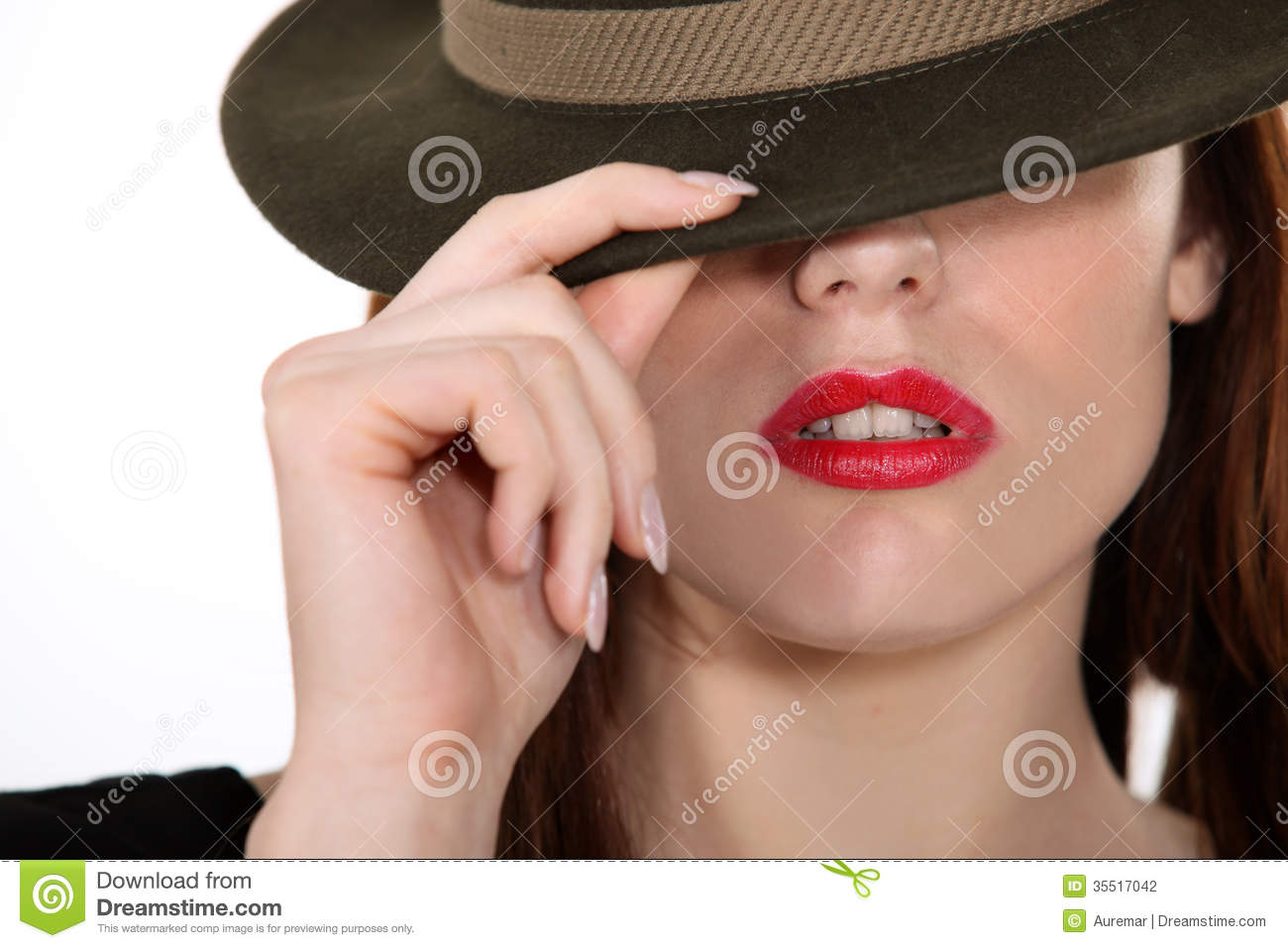 Women Shielding Face With Hat Stock Photography   Image  35517042