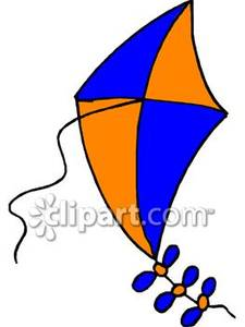 An Orange And Blue Kite Royalty Free Clipart Picture