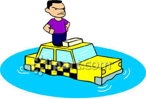 Angry Cab Driver Standing On A Taxi In A Flood   Royalty Free Clipart