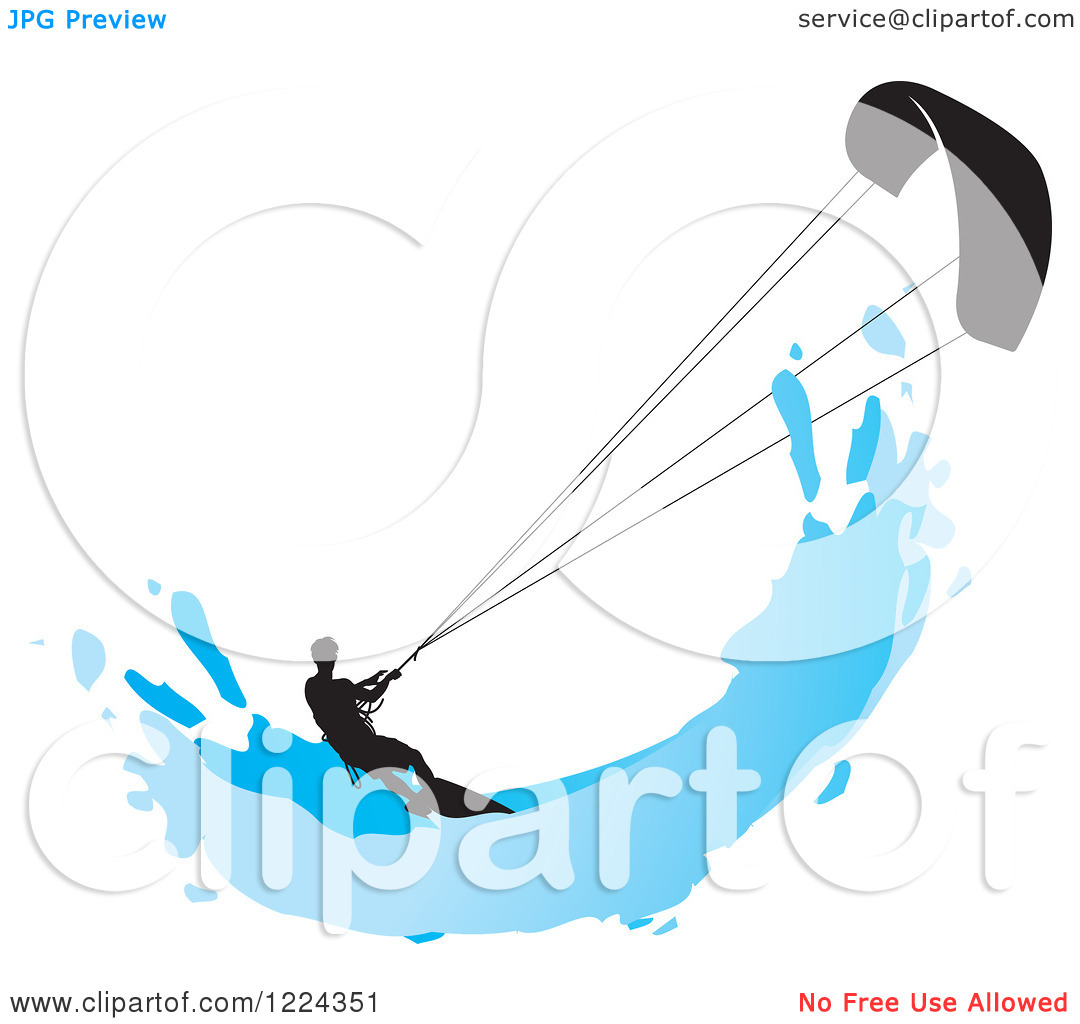 Clipart Of A Silhouetted Kite Surfer With A Blue Splash   Royalty Free