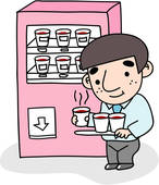 Clipart Of Beverage Job Drink Vending Machine Coffee Businessman