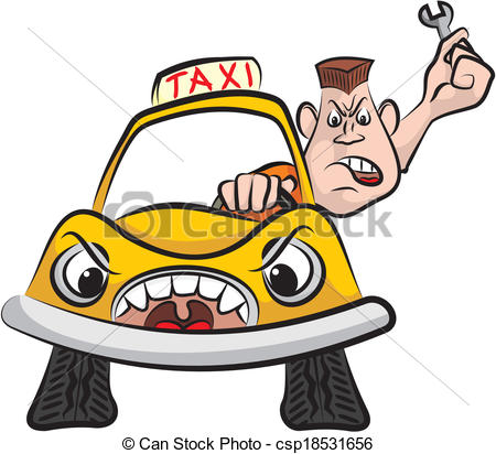 Clipart Vector Of Taxi Driver   Road Rage   Angry Driver With Wrench