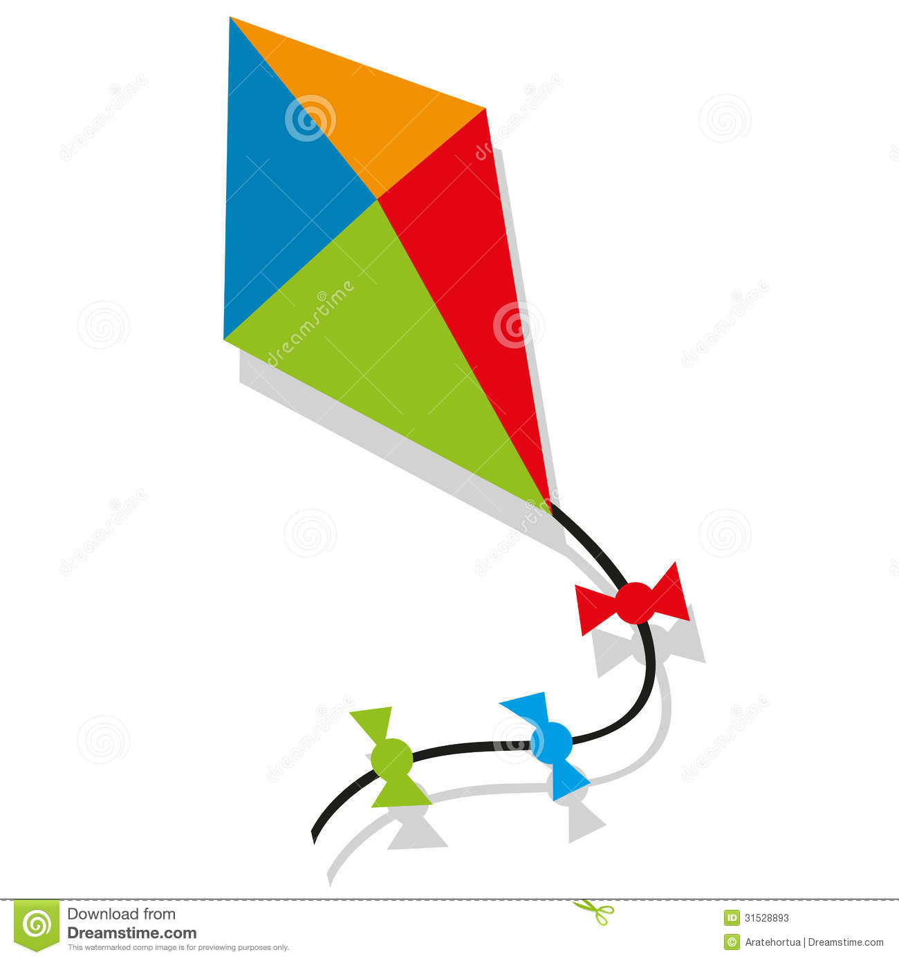 Colorfull Cartoon Vector Kite Blue Orange Green And Red