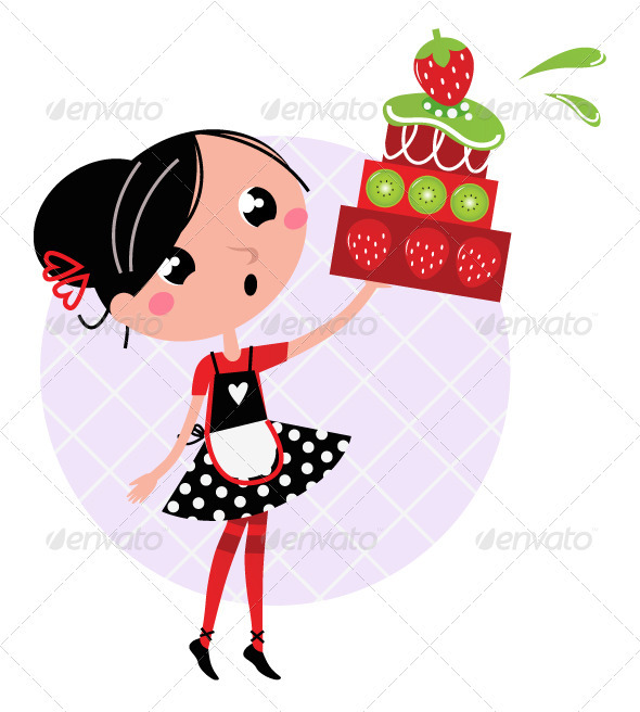 Cute Retro Girl Holding Cake  Vector Cartoon Illustration