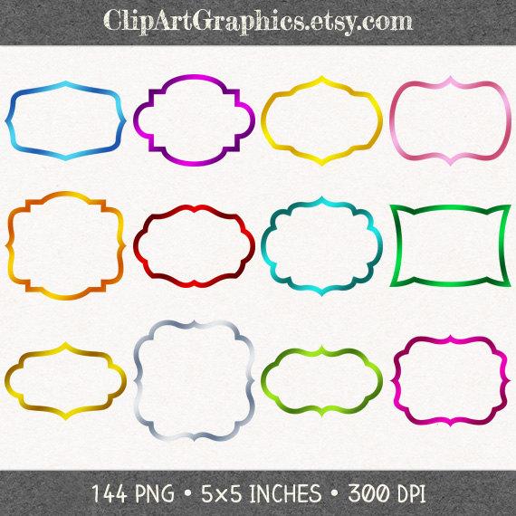 Digital Foil Frame Clip Art Foil Border Clipart Metallic Shape Clip