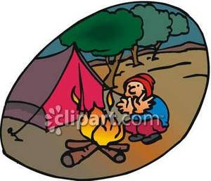 Local Camper Trying To Keep Warm Royalty Free Clipart Picture