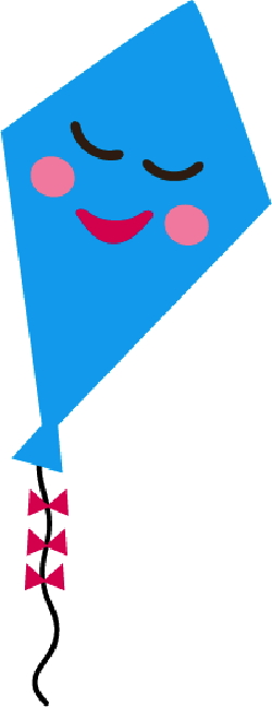 Of A Blue Kite Smiling And Closing Its Eyes With Ribbons On Clipart