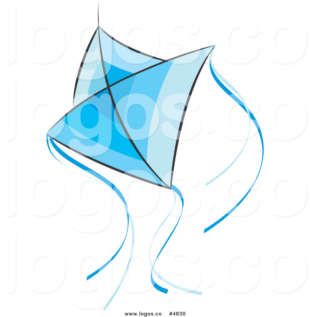 Royalty Free Vector Of A Flying Blue Kite With Strings Logo By Lal