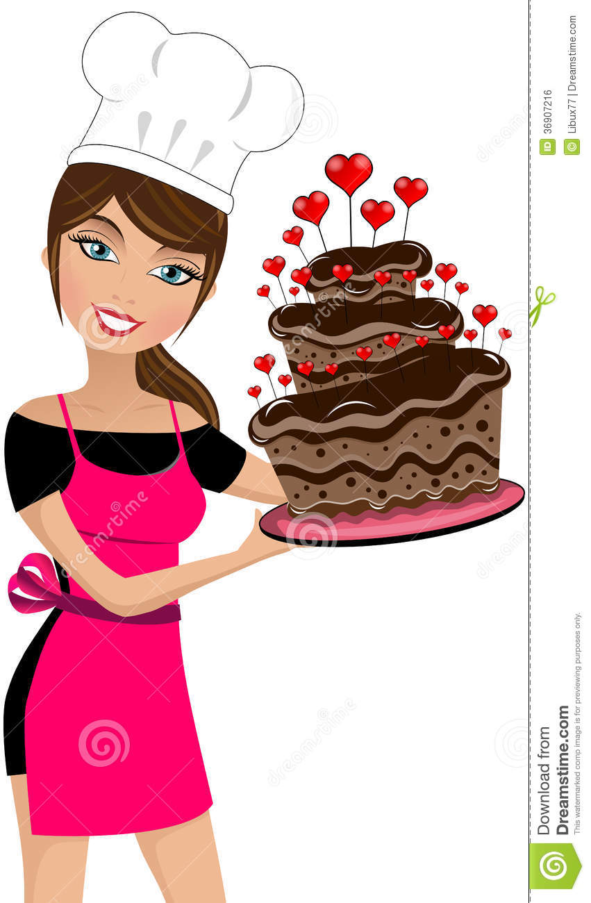 Sexy Woman Chef Valentine Day Big Chocolate Cake Royalty Free Stock