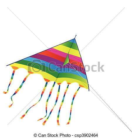 Vector Of Bright Kite   Toy A Bright Kite On A Background Of The Blue