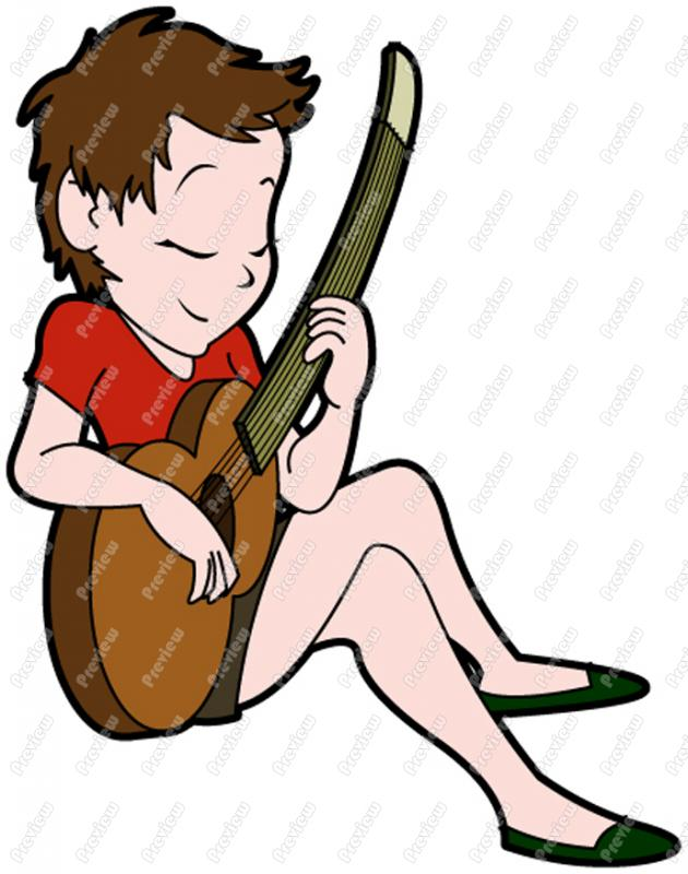 Woman Playing Acoustic Guitar Character Clip Art   Royalty Free