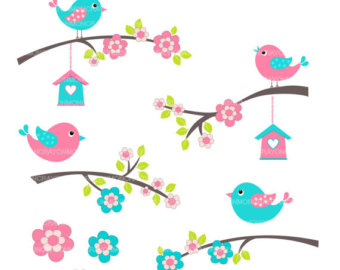 Birds Clip Art  Flowers Clip Art  Blue Teal Pink  Colourful